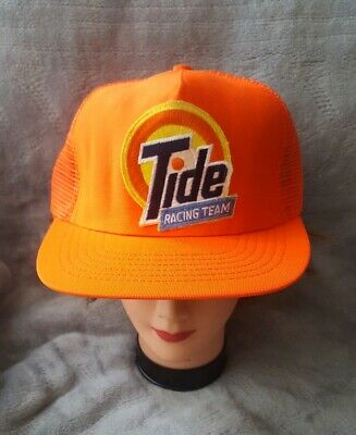 VINTAGE Tide Racing Team Orange Hat Baseball Cap Snapback Trucker PATCH USA