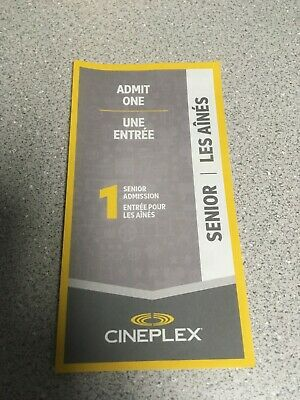 Cineplex Admit One Senior Gift Certificate