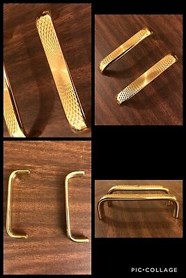 2 Handles Bar Brass Engraved Geometric Cabinet Drawer Pulls Mid Century Vintage