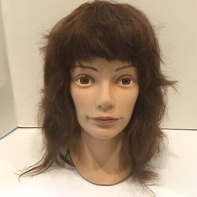 Vintage 1989 PIVOT POINT Life size Mannequin Head REAL HAIR Inset Plastic Eyes