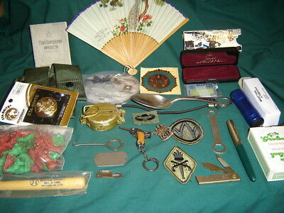 MILITARY JUNK DRAWER Collectibles Pouch, Cards Parker Hunter Cold War, DVD, Tin