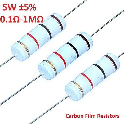 10PCS Big Power 5W Carbon Film Resistor ±5% - Full Range of Values (0.1Ω To 1MΩ)