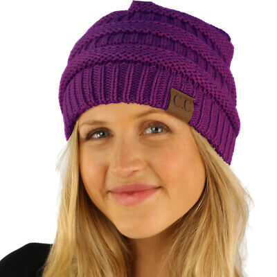 CC Fleeced Fuzzy Lined Unisex Chunky Thick Warm Stretchy Beanie Hat Cap Purple