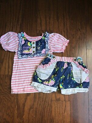 Girls Size 7 Mustard Pie Top With Matching Shorts