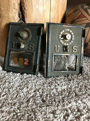 Vintage 1900's  Antique Brass/Copper U.S.Post Office PO Mail Box Door Lot Of Two