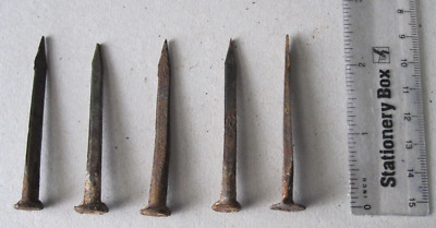 Five Salvaged Hand Forged Vintage Cut Nails Hand-made