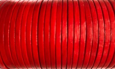 Flat 3mm Real Red Leather Cord Lace Thong String 50m Jewellery Craft