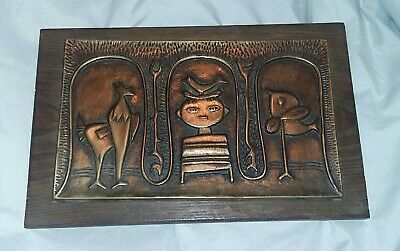 Vintage Unusual Mid Century Modern Art Metal Wood Picture