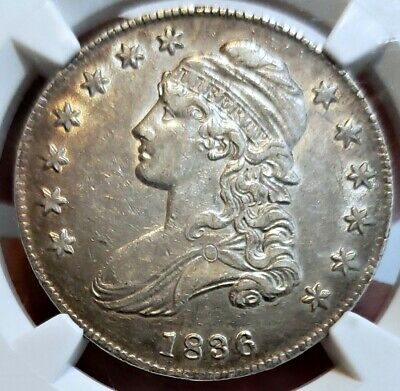 ~☆GORGEOUS☆~ AU-55 LETTERED 1836 Capped Bust Half Dollar NGC  Nice looking coin!