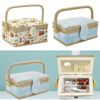Fabric Craft Home Sewing Accessories Sewing Box With Handle Floral Print Basket