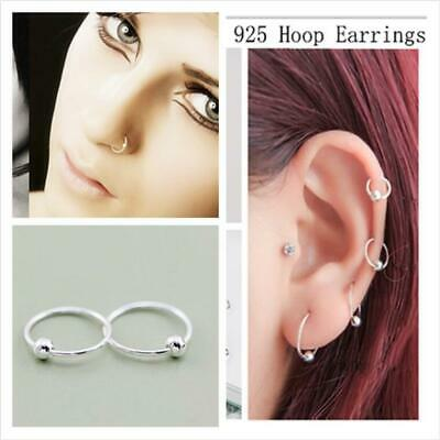 Sterling Silver Ball Nose Ring Hoop Cartilage Tragus Helix Lip Ear Piercing Stud