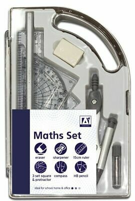 9 Piece Maths Geometry Set Back To School Exam Stationery Compass Protractor New