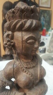 "Antique 16"" tall, Asian Oriental Woman wooden statue, hand carved ,China /Asian"