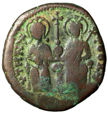 LARGE Byzantine Coin of Justin II Enthroned With Wife Sophia RY 7 Theoupolis