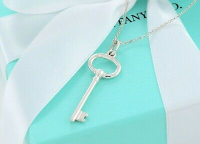 "Tiffany & Co Silver 1.5"" Oval Key Pendant 17"" Necklace +Box Pouch Ribbon Lovely"
