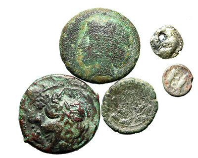 GROUP LOT 5 Ancient Greek Silver & Bronze Coins 8-22mm Circa 5th-1st Century BC