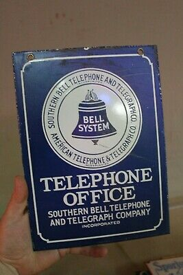 Southern Bell Telephone Office Porcelain Metal Sign Telegram Gas Oil Service 66