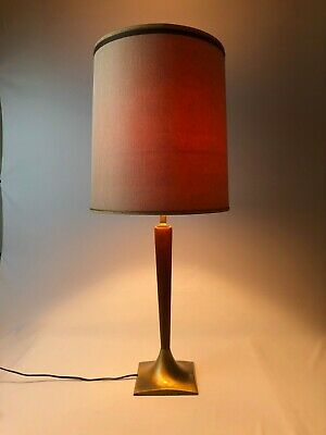 Vintage Mid Century Modern Danish Teak Walnut Table Lamp