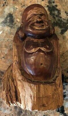 Vintage Happy Smile Laughing BUDDHA Hand-Carved Raw Solid Wood Statue 6in. tall