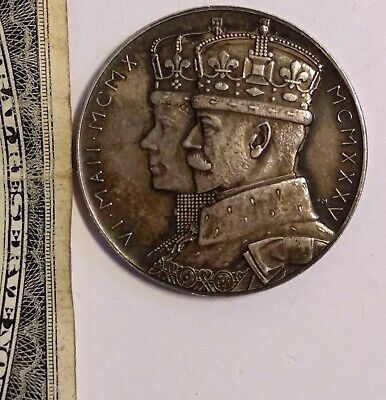Old 1910-1935 George V & Queen Mary Jubilee 25th Silver Medal Stet Fortuna Domus