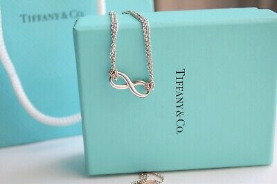 "Tiffany & Co Sterling Silver Infinity Pendant XL 18.5"" Double Chain Necklace"