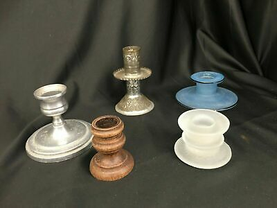 5 Candle Stick Holders Miscellaneous Wood Metal Glass