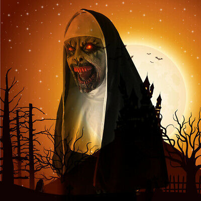 THE NUN Scary Voice LED Valak Mask Cosplay The Conjuring Halloween