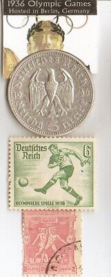 1896-*greek Olympic stamp*+1936-*german Olympic stamp+1936 5mk SILVER EAGLE coin