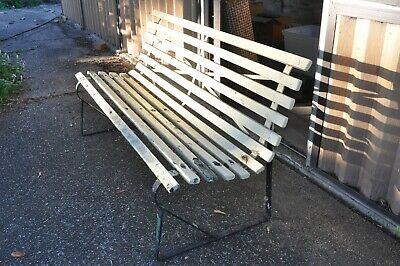 Vintage 1960'S Garden Bench Wood Wrought Iron