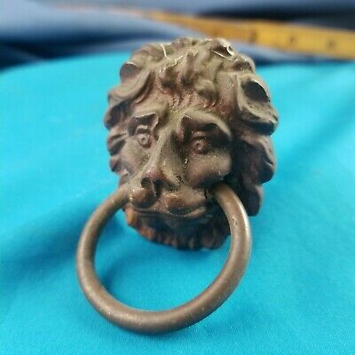 Antique Lions Head Solid Brass Drawer Ring Pull