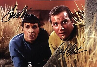 WILLIAM SHATNER & LEONARD NIMOY SIGNED AUTOGRAPHED 6x8 STAR TREK PHOTO +COA