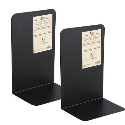 1 Pair Metal Non-Skid Bookend Book Stands for Home Office Decoration Black/White