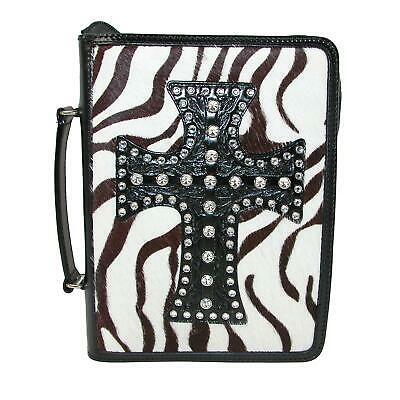 New 3 D Belt Company Black and White Hair-On Zebra Print Bible Cover