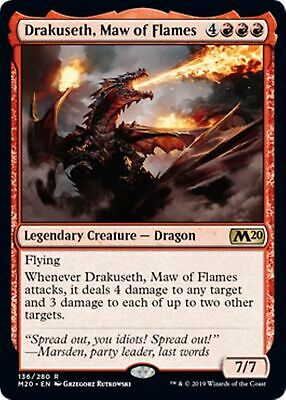 DRAKUSETH, MAW OF FLAMES Core Set 2020 MTG Red Creature — Dragon Rare