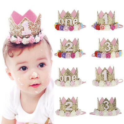 Baby Girls First 1st Birthday Party Hat Crown Headband Or Unicorn Cake Topper UK