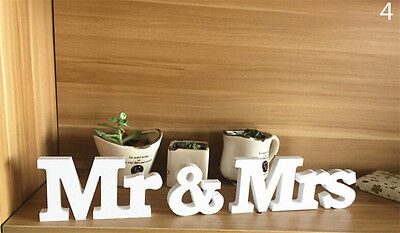 White Mr and Mrs Letters Sign Wooden Standing Top Table Wedding Party Decor ZW