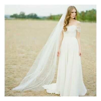 White/Ivory 2M/3M Long Prom Gown Simple Wedding Bridal Veil Cathedral With Comb