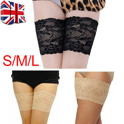 Pair Elastic Lace Thigh Bands Anti Chafing Non Slip Leg Sock Prevent Abrasion UK