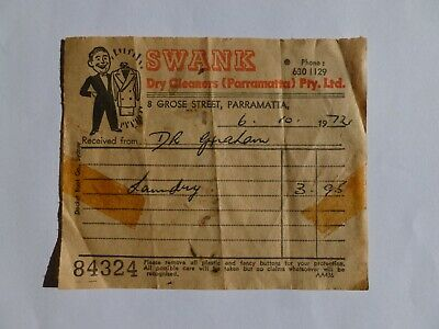 Old Dry Cleaning Receipt Docket - Swank Parramatta - Vintage Retro Collectable