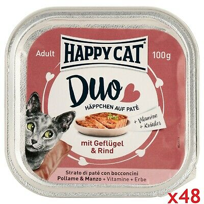 Happy Cat Duo Comida para gatos húmeda Pollo y Ternera 100gr x 48 Total 4.8KG