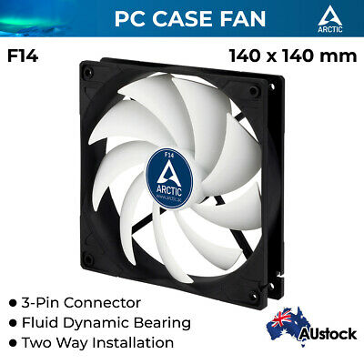 Arctic Cooling 3-pin F14 Quiet PC Case Fan 140mm Silent Fluid Bearing 1350 RPM