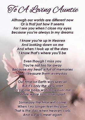 To A Loving Auntie Memorial Funeral Graveside Poem Card & Free Ground Stake F353