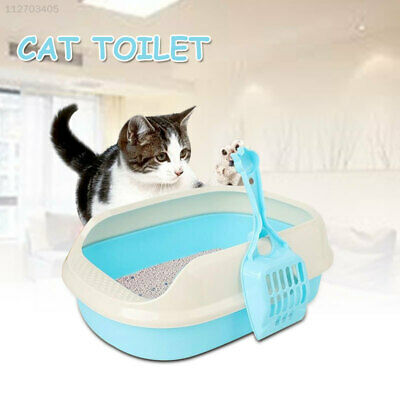 2EBE Portable Hooded Cat Kitty Toilet Litter Tray Pet Pan Box Clean with Scoop