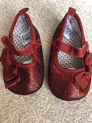 Baby Girls Next Red Bow Detail Crib Shoes Size 1