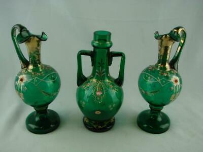 Antique Emerald Green Glass Decanter & Jugs, Enamelled & Gilded Decoration