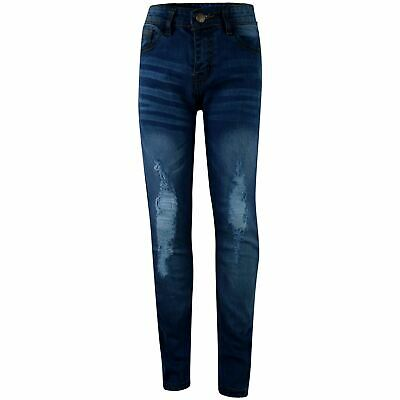 Kids Boys Stretchy Jeans Knee Ripped Denim Mid Blue Skinny Bikers Pants Trousers