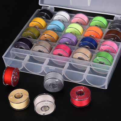 25x Bobbins Sewing Machine Spools  Case With Sewing thread for Sewing Machine ^S