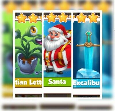 Martian Lettuce, Santa & Excalibur  :- Coin Master Cards (Fastest Delivery)
