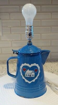 Vintage GraniteWare/EnamelWare White Speckled on Blue Coffee Pot Lamp