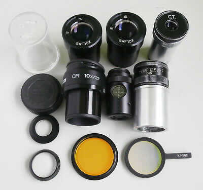 Job Lot of Microscope Eyepieces, Filters, Keeper & Other Bits for Spares/Repair